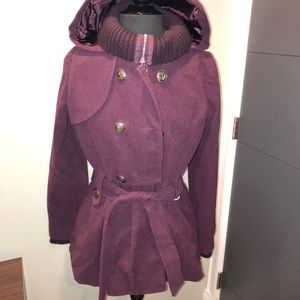 Purple Peacoat with Belt and Hood